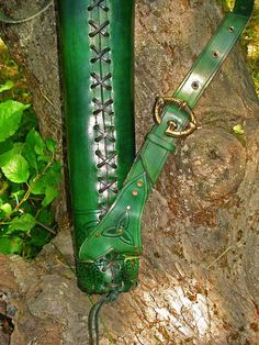RESERVED LISTING Archery quiver green Celtic by MadeOfLeather, $140.00