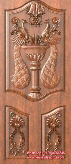 Exterior Doors With Glass Pooja Room Door Design, Front Door Design Wood, Single Main Door Designs, Ceiling Design, Wooden Door Design, Wood Doors Interior, Door Design Interior, Wooden Design