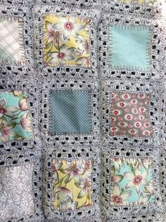 fabric crochet quilt. Could definitely make this to use up some scraps.