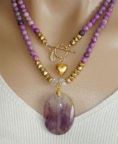 Ashira Purple Sugilite Necklace with gold. Ashira Jewelry.  Weekend Mix.
