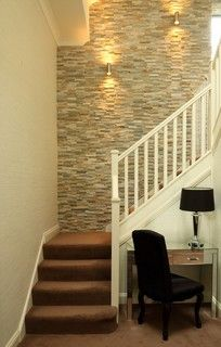 New Living Room Wallpaper Accent Wall Stairs Ideas Tile Accent Wall, Stone Accent Walls, Accent Walls In Living Room, Wall Tile, Faux Stone Walls, Wall Art, Stone Wallpaper, Room Wallpaper, Bedroom With Wallpaper Accent Wall