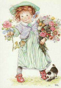 bimba con mazzo di fiori, cucciolo e gattino, vintage