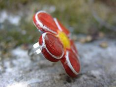 Spring flower ring by JagodaCeramicsArt on Etsy