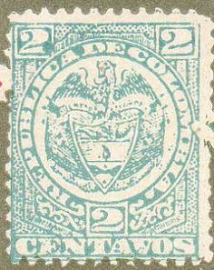 Vintage Stamps Of The World Republica De Colombia Dictionary Image