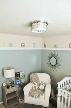 Gender Neutral Nursery - what a cozy corner for rocking baby!