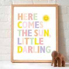 Here comes the sun Nursery Print on Etsy, $25.00