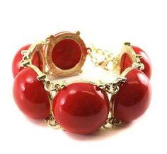 Goldtone Wide Red Bubble Bracelet Fashion Jewelry | PammyJ Fashions