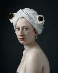 Hendrik Kerstens (Netherlands), Paper Roll, 2008 -portraits of his daughter, Paula -interest in Dutch painters of the c -a number of the portraits are clearly reminiscent of Johannes Vermeer -conceptual and humorous dialogue between past and present Der Ludwig, Fotografia Fine Art, Santa Barbara Museum, Tableaux Vivants, Johannes Vermeer, Photocollage, Dutch Painters, Foto Art, Art Graphique