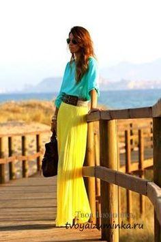 Юбка длинная желтого цвета купить