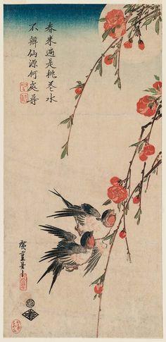 Swallows, Peach Blossoms, and Moon  月下桃花に燕 Japanese Edo period early 1830s Artist Utagawa Hiroshige I (Japanese, 1797–1858)