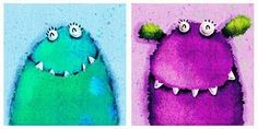 monsters in chalk pastels... capitalize on the Monsters U. movie