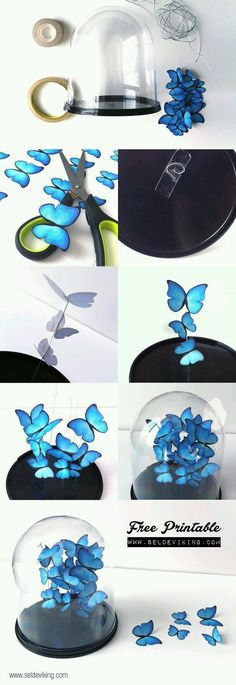 diy crafts for bedroom Cool Turquoise Room Decor Ideas - DIY Butterfly Decor - Fun Aqua Decorating Looks and Color for Teen Bedroom, Bathroom, Accent Walls and Home Decor - Fun Crafts and Wall Art for Your Room diyprojectsfortee. diy crafts for bedroom Diy Papillon, Diy Butterfly Decorations, House Decorations, Decoration Crafts, Paper Decorations, Turquoise Decorations, Decoration Party, Diy Paper, Paper Crafts
