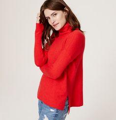 Ribbed Turtleneck Sweater | Loft - Ribbon Red