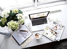 desk, flowers, mac, magazines, study, window, work