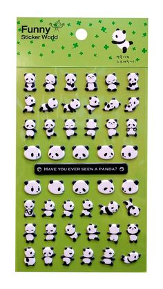 """- These Cute Kawaii Panda Bear puffy dimensional 3D stickers are perfect for scrapbooking, planners, embellishments, invitations, gifts, stocking stuffers, or cards! - Package size 8 3/8"""" x 3"""" ."""