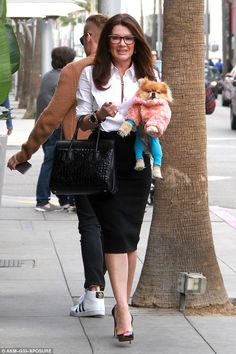 Dog days:Lisa Vanderpup took the newest member of her family, Harrison the Pom, out to lunch in Beverly Hills, California, on Friday