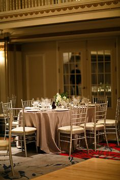 Silver linens and chairs at The Drake Hotel / Photo from Annie & Joe- Wedding collection by Kina Wicks Prints