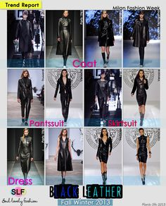 Black Leather: Coat -Pantsuit - Skirt-suit- Dress #Fashion Trend for Fall Winter 2013#MFW