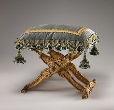 Folding Stool (Pliant), c. 1735-1740.  (I have a bench for which was going to make a simple cushion, BUT... like the idea of trim on cushion.)