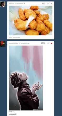 """""""A hungry Karkat stands alone in the rain, patiently awaiting the moment sacred cheese-filled chicken morsels fall from the sky. Then, and only then will he live life with no regrets."""""""