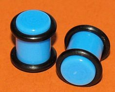 Pair of Turquoise Acrylic Saddle Ear Plugs 0 gauge 8mm