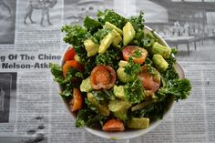 Avocado ~n~ Kale Salad  Ingredients:  3 cups torn kale  ½ cup of cherry tomatoes sliced in half  3 tbsp thinly sliced red onion  1 ripe avocado    Dressing:  1 teaspoon honey  1 teaspoon red wine vinegar  2 tablespoons extra virgin olive oil  Juice of half a lemon  Large pinch of salt