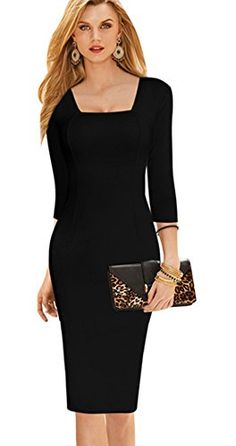 Merope J Womens Square Neck Bodycon Formal Long Sleeves Solid Color Dress MBlack ** You can find out more details at the link of the image.