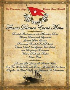 Titanic menu.