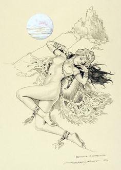 "The Bristol Board — ""Isparana of Zamboulia"" by Esteban Maroto, Art Pictures, Art Images, Evil Art, Bristol Board, Pulp, Madrid, Dark Fantasy Art, Nose Art, Erotic Art"