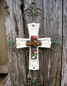 Iron Wall Cross  Rusty Beaded Cross  Ceramic by TotallyCrosses