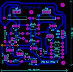 PCB layout OCL 68 Watt Power Amplifier Circuit diagram