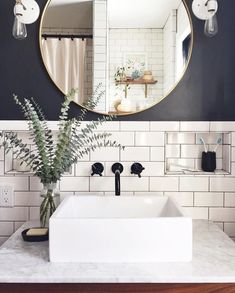 modern industrial bathroom // gray and white bathroom // subway tile - Salle de Bains 02 Bathroom Renos, Budget Bathroom, Bathroom Inspo, Bathroom Interior, Bathroom Inspiration, Remodel Bathroom, Bathroom Furniture, Bathroom Ideas, Bathroom Vanities