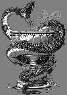 Undead Pharmacy Art Print by Javier Ramos - X-Small Snake Sketch, Snake Drawing, Snake Art, Tattoo Sketches, Art Sketches, Totenkopf Tattoos, Snake Design, Tattoo Designs And Meanings, Snake Tattoo