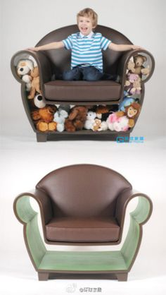 Space saving chair--teddy bears or bedding or books...
