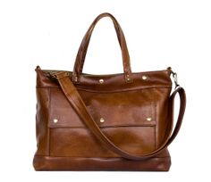 Leather Laptop Briefcase in Chestnut Brown by JennyNDesign
