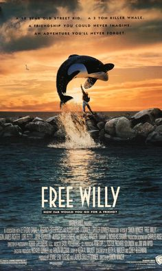 """Free Willy (1993) Vintage Movie Poster - 27"""" x 40"""""""