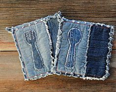 Blue Jeans Pot Holders  Red Spoon Applique Denim Potholders