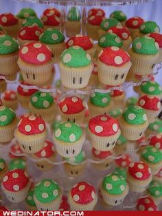 Funny Wedding Photos For our Mario Kart race day - Mario Kart Mushroom Cupcakes - This is the most unique and fun wedding cupcake tower we've created to date! Congratulations to Kathy Super Mario Party, Bolo Super Mario, Super Mario Birthday, Mario Birthday Party, 6th Birthday Parties, Super Mario Bros, Birthday Ideas, Super Mario Cupcakes, Lego Parties