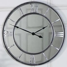 Large Mirrored Skeleton Style Wall Clock with Roman Numerals - Melody Maison®