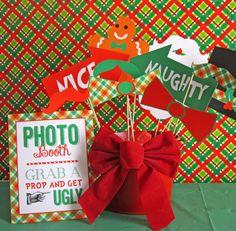 Fun photo props at an Ugly Sweater party! Tacky Christmas Party, Tacky Christmas Sweater, Christmas Party Themes, Ugly Sweater Party, Xmas Party, Christmas Traditions, Christmas Nails, Holiday Parties, Holiday Fun