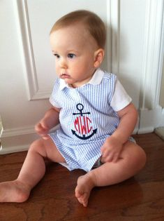 Blue Seersucker Stripe Baby Boys Jon Jon/Shortall, Anchor Design with Circle Monogram