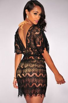 Black Lace Cover up Dress #Coverups