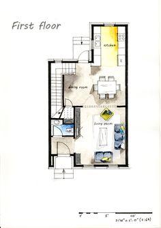 Real Estate Watercolor 2D Floor Plans Part 2 On Behance
