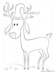 How to draw a moose step by step drawing tutorials for kids and how to draw a cartoon christmas reindeer step by step drawing tutorials for kids and beginners thecheapjerseys Image collections