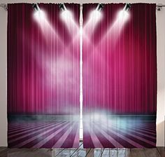 Home Decor Dream Theatre Stage Aubergine Drapes Curtains for Bedroom Living Kids Room for Modern Family and Couples Art Pictures Two Panels Set 108 X 84 Inches Curtains, Fuchsia Pink Purple