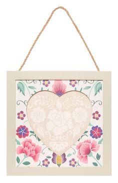 Cream Floral Hanging Heart Frame