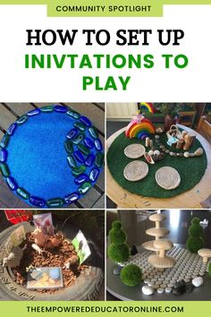 Setting up invitations to play in early learning environments - Read this post to learn how to set up invitations to play with simple materials and browse through the various themes of invitations to play ideas from the Empowered Educator early childhood educators community. Get inspired by sensory invitation to play ideas, small world play ideas, nature play ideas, and more! | The Empowered Educator Play Based Learning, Learning Spaces, Learning Environments, Early Learning, Early Years Teacher, Family Day Care, Home Daycare, Small World Play, Create Invitations