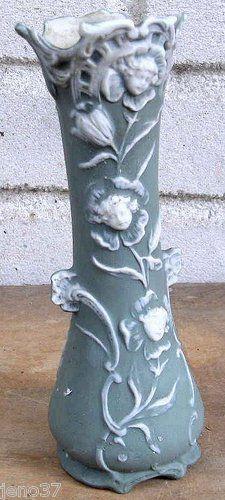Old German or Austrian Vase Anthropomorphic Flower Heads Embossed Jasperware - very elegant version.