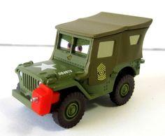 Disney Pixar Cars 2 Sarge with Gas Can Racing Pit Crew Military Jeep Green  #Disney