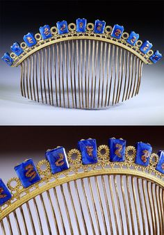 French Empire comb, blue glass decoration, France, early 19th century, Width : 6 5/8 inch, Height : 3 3/4 inch, Depth : 1/8 inch, Superb example of French Empire style. Emblematic heading with Napoleonian laurel crowning motif, alternating with blue glass stones inlaid with powder of gold (certainly from Murano, Italy).